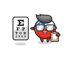 Illustration of chile flag badge mascot as an ophthalmology vector