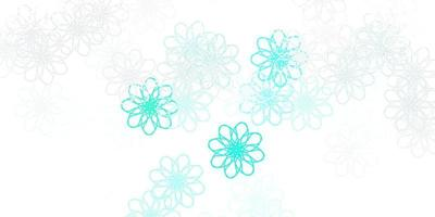 Light Green vector doodle template with flowers.