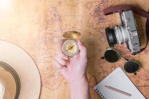 Hand to planning vacation trip and accessories for travel photo