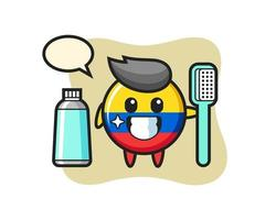 Mascot Illustration of colombia flag badge with a toothbrush vector