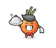 Character mascot of carrot as a waiters vector