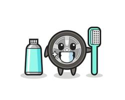 Mascot Illustration of car wheel with a toothbrush vector