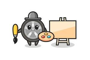 Illustration of car wheel mascot as a painter vector