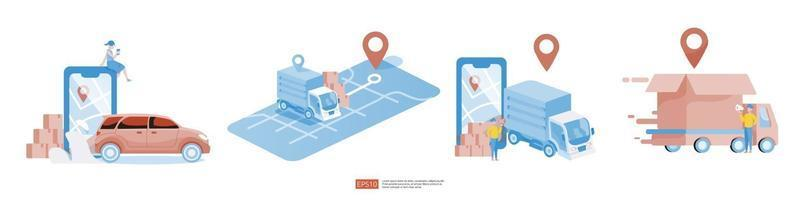 Online delivery service transportation illustration set vector