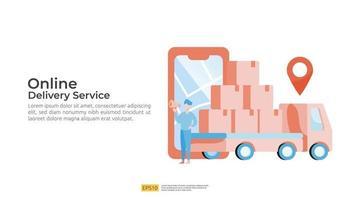 Online delivery service transportation illustration. order tracking vector