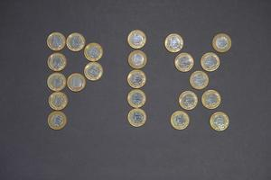 PIX written by coins of 1 Real. photo