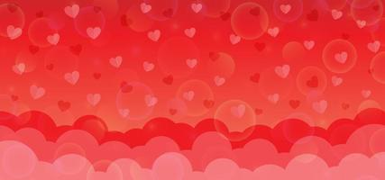 Red valentine background with papercut style vector
