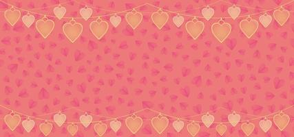 Valentine background with with heart hanging decoration vector