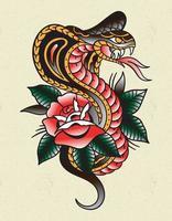 cobra rose tattoo old school vector