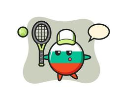 personaje de dibujos animados de la insignia de la bandera de bulgaria como tenista vector