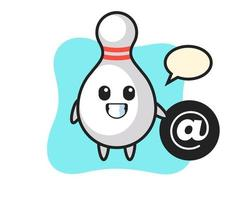 Cartoon Illustration of bowling pin standing beside the At symbol vector