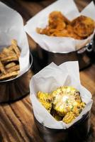 Grilled bbq sweetcorn and chips bar food snacks set photo