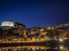 Porto Ribeira Riverside old town and landmark bridge view in Portugal at night photo