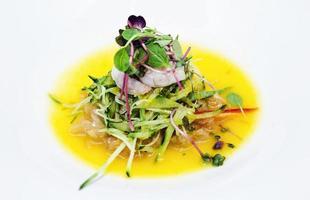 Korean rice vinegar marinated raw prawn and vegetable spicy Asian salad photo
