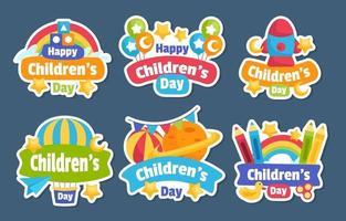conjunto de pegatinas del día del niño feliz vector