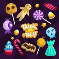 Trick or Treat Sticker Set vector