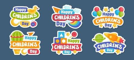 conjunto de pegatinas del día del niño vector