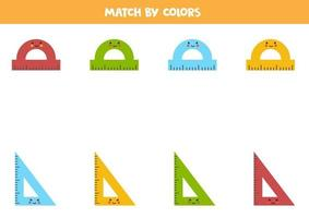 Color matching game for preschool kids. Match rulers by colors. vector