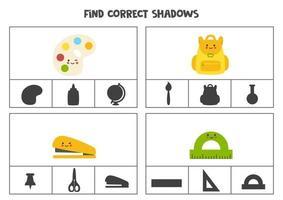 Find correct shadow of cute kawaii school supplies. vector