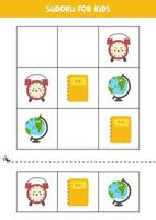 juego de sudoku para niños con útiles escolares de dibujos animados. vector
