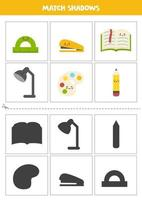 Find shadows of cute school supplies. Cards for kids. vector
