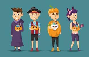 Trick or Treat Halloween Character Set vector