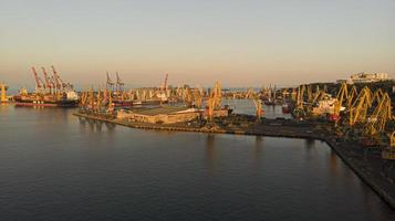 Photo from drone of large commercial shipyard, ships and cranes