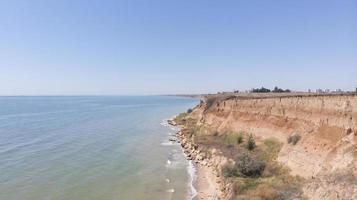 Aerial drone shot of the Cliff in Odessa near the sea photo