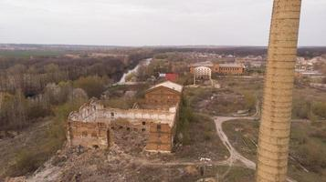 Old abandoned sugar factory in Vinnitsia region, aerial view photo