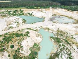 Drone view on a flooded kaolin quarry turquoise water and white shore photo