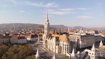 Budapest, Hungary - aerial shot from drone on St. Matthias Church photo