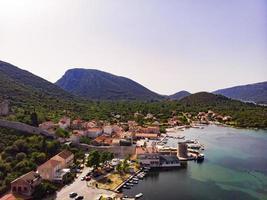 Mali Ston waterfront aerial view, Stone walls in Dalmatia of Croatia photo