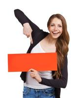 niña bonita muestra un cartel foto