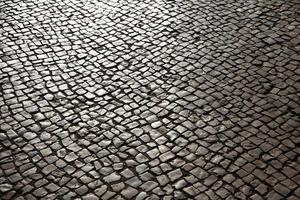 Pavement lined with stone photo