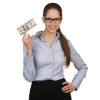 Smiling woman holding a hundred dollar bill photo