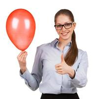 Girl with inflated balloon shows that all great photo