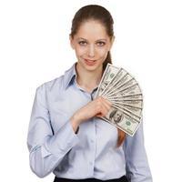 Pretty girl holding a hundred-dollar bills photo