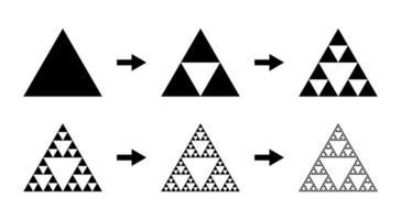 Sierpinski triangle evolution.  Steps constructing Sierpinski gasket vector