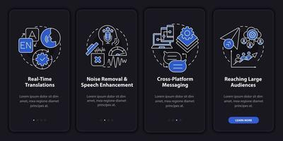 IM advanced feature dark onboarding mobile app page screen vector