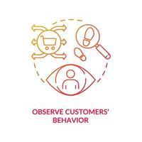 observar el comportamiento de los clientes icono del concepto rojo vector