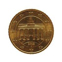 Moneda de 50 centavos, unión europea, alemania aislado sobre blanco foto