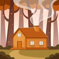 Mountain Cabin in the Forest during Autumn vector