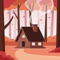 Mountain Cabin in the Woods During Autumn vector