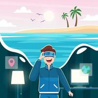 Tourism using Virtual Reality Technology vector