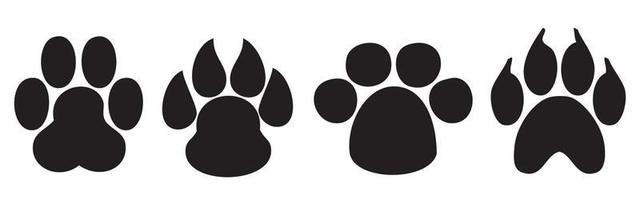 Paw Print. Dog and cat paw print. Animal paw prints isolated vector