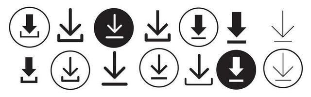 Download icon symbol. Round down arrow. vector
