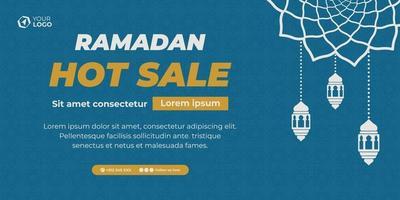 blue ramadan sale banner vector