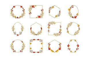 Autumn Leaves and Foliage Wreath Collection vector