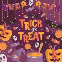 Trick or Treat Halloween Colorful Background vector