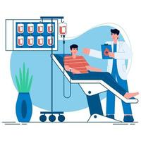 Blood donation flat illustration vector